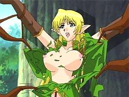 Anime elf girl gets tied up and boner banged