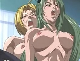 Blonde shemale hardly screws busty hottie in hentai