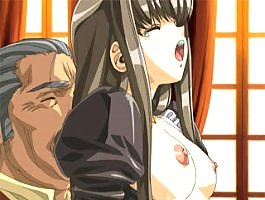 Gorgeous young hentai maid with natural titties rides an old perv