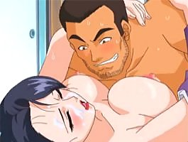 Two cocks pound her tight little anime holes